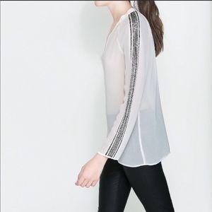 Zara Sheer Beaded Blouse